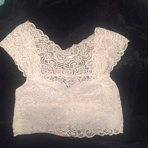 Free People white lace crop top
